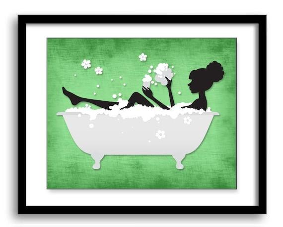 Lime green black bathroom decor bathroom print silhouette girl for Bathroom decor lime green