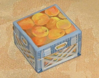 A small handpainted paper mache box gift Crate of Peaches