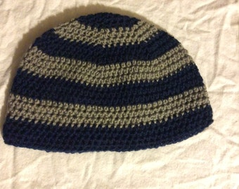 Crocheted Navy Blue and Gray Yarn Striped Beanie Hat