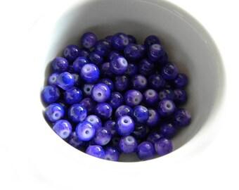 20 6mm Opaque Purple Glass Beads