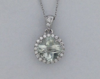 Natural Green Amethyst with White Topaz Pendant 925 Sterling Silver