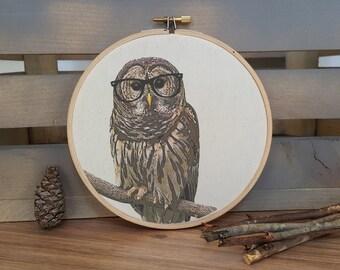 Owl in nerd glasses print