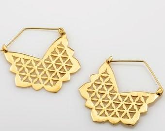Large Gold Earrings, Flower Of Life Earrings, Sacred Geometry Jewelry, Boho Earrings, Lotus Earrings, Gift For Her, SAGIA