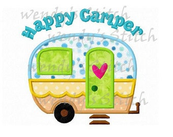 Happy camper applique camping machine embroidery design instant download