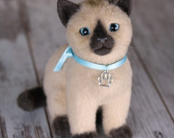 Felted toy Siamese kitten