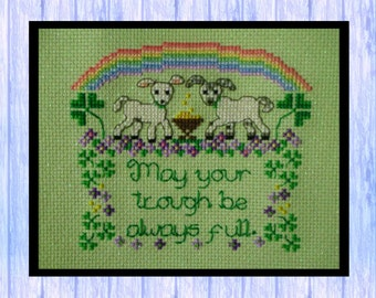 Lambs and Shamrocks, SHEEP, St Patrick's Day Cross Stitch Pattern, PDF Download of Chart