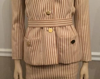 Vintage Bill Blass beige stripe Womans Suit with gold buttons / size Small