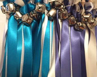 50 Wedding Wands/Wedding Ribbon Wands/Wedding Wand/Antique Blue, Turquoise, Ivory& Silver/Wedding Streamers