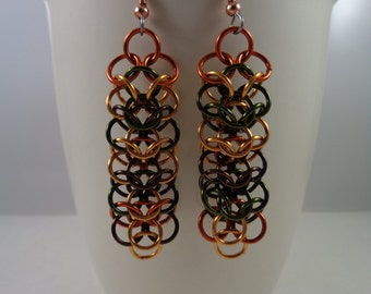 Autumn Chainmaille Earrings, Interwoven 4 in 1 Chainmail Earrings, Interwoven 4-in-1 Chain Mail Earrings, Chain Maille Earings