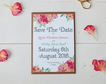 Save The Date - Watercolour - 'Christine' Wedding Stationery