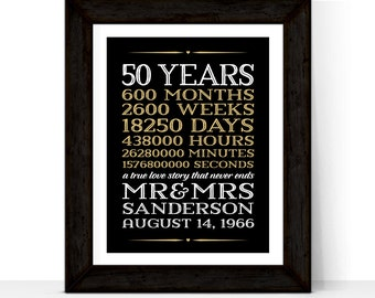 50th anniversary gifts for grandparents | 50 year anniversary gift for parents | 50th wedding anniversary gifts | Printable print or canvas