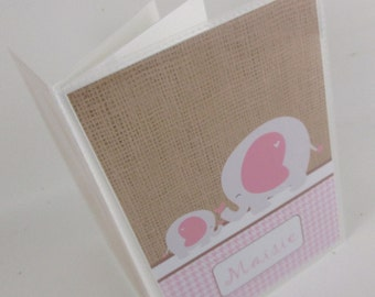 baby photo album, rustic burlap baby shower gift, baby girl album, pink elephant photo album personalized book- 4x6 or 5x7 picture 500