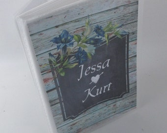 Wedding photo album distressed printed wooden rustic bridal shower gift shabby flower personalized photo book engagement anniversary 576