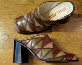 Clogs MIU - MIU, patchwork leather, size 39, seventies style.