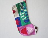 Vintage Handmade Christmas Stocking Sock, Scandinavian Christmas Decor, Cotton Fabric Gift Bag @122