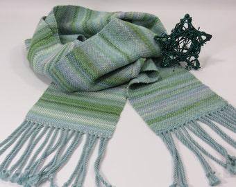 Woven Scarves - Seaglass Scarf, Aqua Blue Scarf - Handwoven Scarf - Light Green Scarf