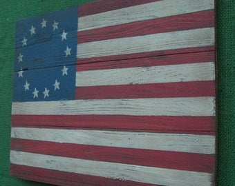 Rustic  Wooden Betsy Ross Flag, 12 X 17 inches. Made from recycled wood.