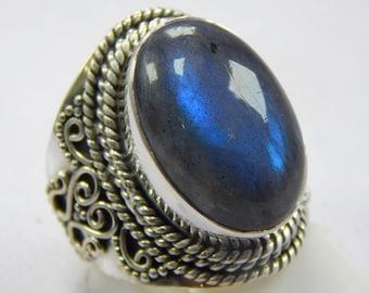 Labradorite ring, stone ring, silver ring, silver Labradorite ring, 92.5 sterling silver, Labradorite Silver Ring,Handmade Ring Ring size 7