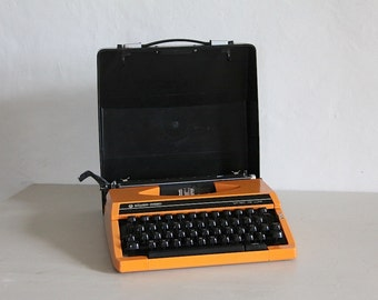 Vintage Silver-Reed Orange Manual Typewriter with Cover, Mid Century