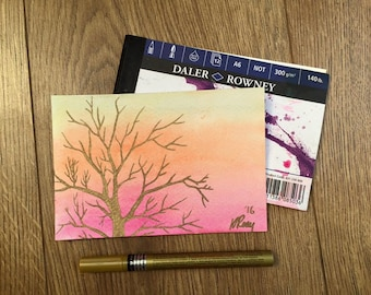 Hand-Painted Postcard, Golden Tree at Sunset