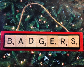 Wisconsin Badgers Scrabble Tiles Ornament Handmade Holiday Christmas Wood