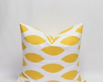 SALE Yellow Pillows Ikat Pillows Yellow Ikat Pillows Decorative Throw Pillow Covers Yellow Chipper Throw pillows 14 16 18 20 22 24 26