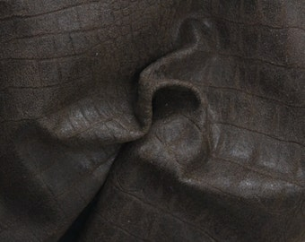 "Brown Reptile Leather Lamb Hide 12"" x 12"" Project Piece 1 1/2 ounces TA-38350 (Sec. 6,Shelf 5,B)"