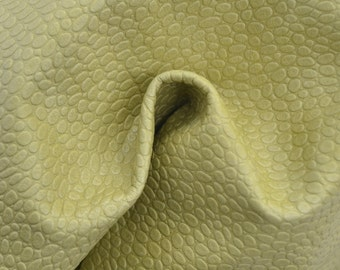 "Greenish Yellow Leather Cow Hide 12"" x 12"" Pre-cut 2 ounces TA-36547 (Sec. 5,Shelf 2,D)"
