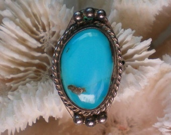 Native American Turquoise Silver Ring - 4872