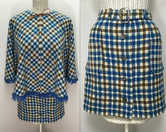1960s 70s Poncho & Mini Skirt // Hand Made from Pendleton Wool // Blue Brown Plaid with Blue Fleece Lining // Women Size Small