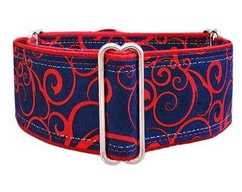 Red scrolls on navy. Adjustable martingale dog collar, greyhound, whippet, galgo, doberman, great dane, mastiff collar. Made to order!