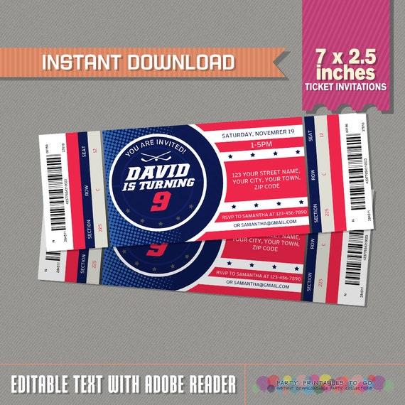 Ice Hockey Ticket Invitations INSTANT DOWNLOAD Ice Hockey