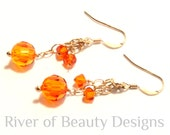 Tangerine Swarovski Crystal Earrings, Gold Chain Earrings, Tropical Earrings, Orange Earrings, Orange Gold Dangles, River of Beauty Designs