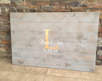 Rustic Hand Painted Wooden Pallet Wedding Guestbook - Guestbook Alternative