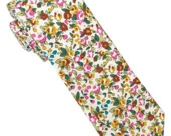 SummerxFever Floral Skinny Tie, 100% Cotton, Men accessory, Floral