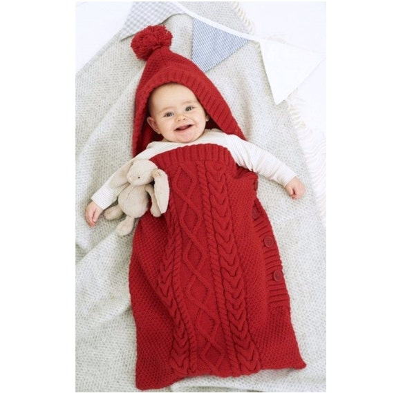 Knitting Pattern Sleeping Bag Baby : Knitting Pattern Baby Sleeping Bag Cocoon Sleep Sack Papoose