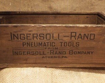 Parts Bin, Old Wood Crate, Ingersoll Rand, Pneumatic Tools, Factory Advertising Toolbox