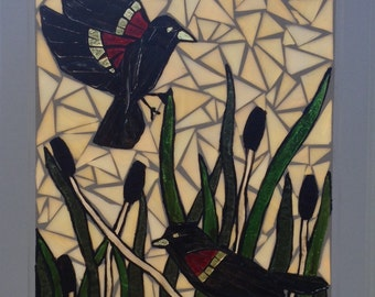 Stained Glass Blackbird Mosaic Panel - Red wing blackbird Stained Glass Panel - Red Winged Black Birds Mosaic Window Hanging