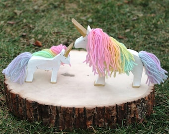 Pastel Rainbow Unicorn and Foal - Eco Friendly Natural Waldorf Wooden Toy
