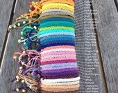 Handmade Hemp Friendship Bracelet/anklet/wristband - Square or Twisted Macrame Knot - 37 colours!
