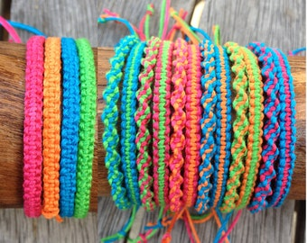 Handmade Neon Bamboo Cord Friendship Bracelet/Anklet/Wristband - Square or Twist Macrame Knot