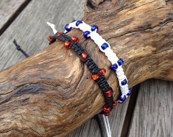 Handmade Waxed Cotton Friendship Bracelet | anklet | wristband, with Glass Seed Beads