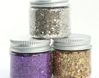 German Glass Glitter 4.5 oz Trio Pack,Silver Glass Glitter,Gold,Violet,Silver Fusion,Glass Glitter,Glitter,Craft,Purple,Glitter Fusion,Cute