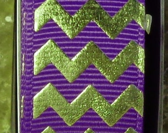 "2 Yards 7/8"" Regal Purple with Gold Chevron - Zig Zag Print - U.S. Designer"