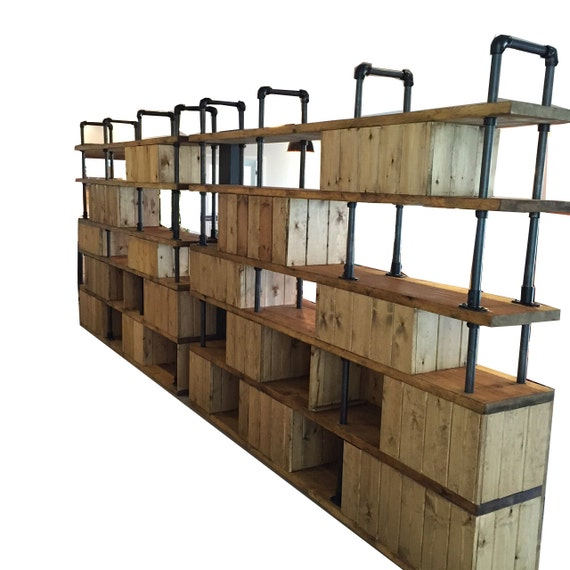 Vintage Industrial Style Dividing Wall Shelving Unit Rustic Gas Pipe