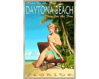 Daytona Beach Florida Travel Poster Pin Up Scarlett Ribbon Art Volusia - available in 4 sizes - Print 288