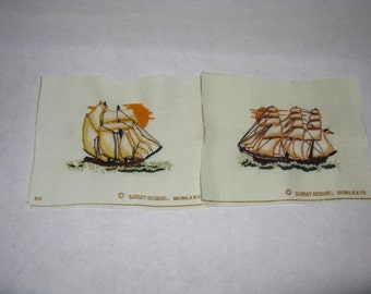 Pair vintage crewel embroidery pictures sailing ship small unframed
