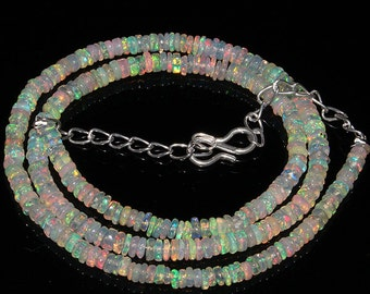 """33 Crt 17"""" Fine Quality Natural Ethiopian Welo Fire Opal Smooth Rondelle Beads Necklace 709"""