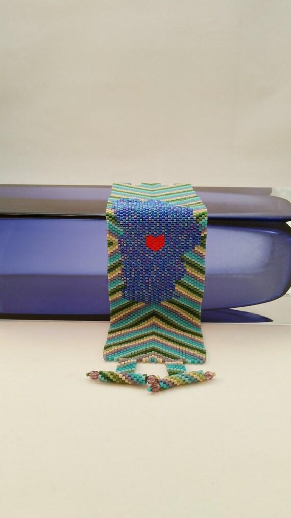 Funky Lake Tahoe Love in Blues & Greens - Beaded Bracelet Cuff