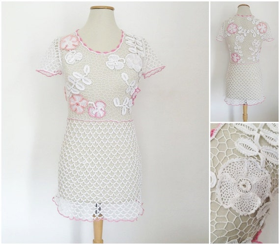 white bodycon dress, summer wedding dress, sexy club dress, short prom dress 2017, crochet dress, mini dress, irish lace boho wedding dress
